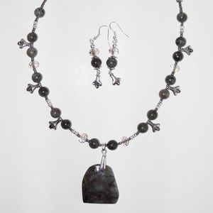 Natural Labradorite necklace/earrings  set  (#212)